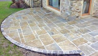 Riven york stone paving