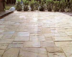 Riven yorkstone patio