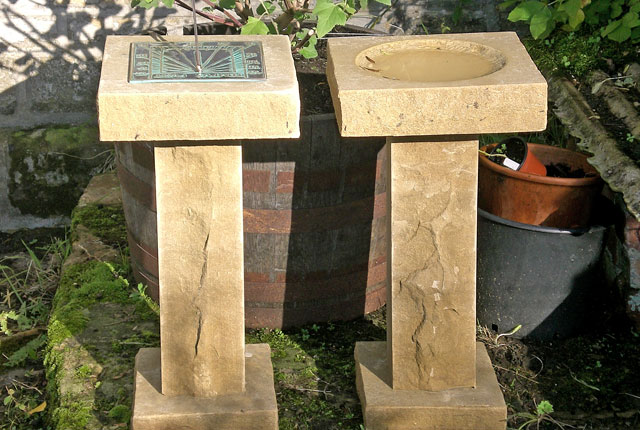 Matching sundial and birdbath
