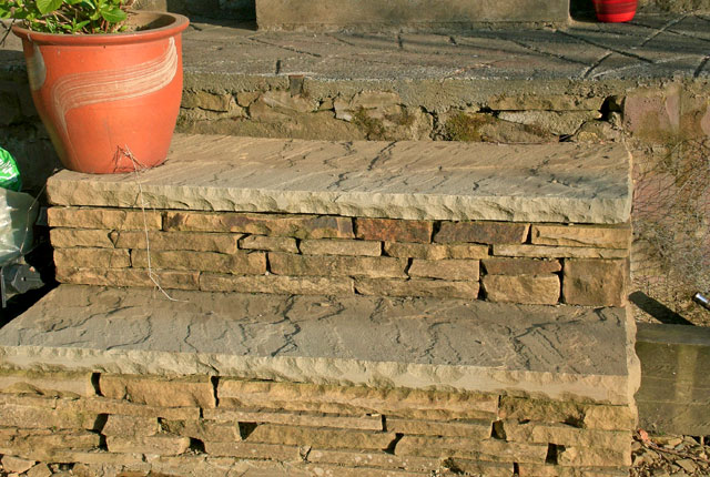 Garden steps from riven paving